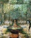 © Roger Choplain, Roland Maston, Région Auvergne - Inventaire général du Patrimoine culturel, ADAGP - Fontaine, le mandegloire : vue de détail de face.