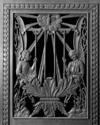 © Roger Choplain, Roland Maston, Région Auvergne - Inventaire général du Patrimoine culturel, ADAGP - Battant, panneau ajouré, face externe.